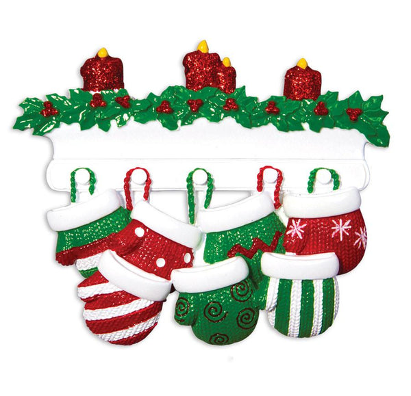 OR1570-7 - Red & Green Mitten Family of 7 Personalised Christmas Decoration