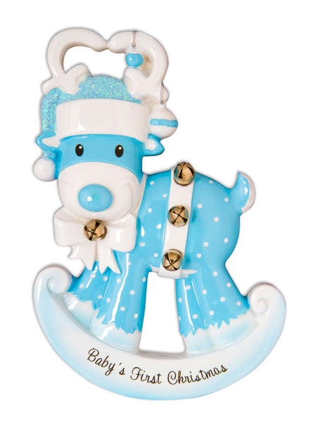 OR1572-B - Baby Reindeer (Blue) Personalised Christmas Decoration