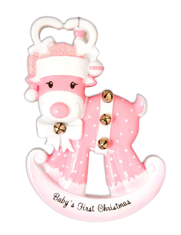 OR1572-P - Baby Reindeer (Pink) Personalised Christmas Decoration