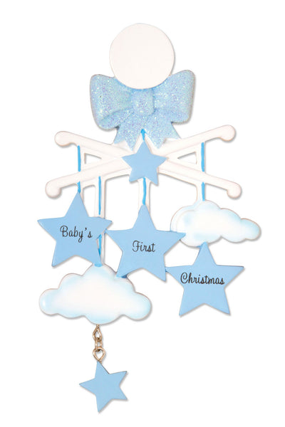 OR1574-B - Baby Mobile (Blue) Personalised Christmas Decoration