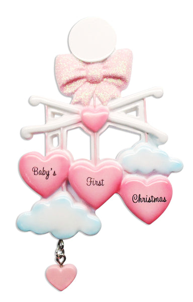 OR1574-P - Baby Mobile (Pink) Personalised Christmas Decoration