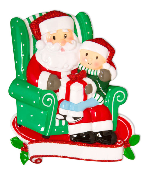 OR1585 - Child Sitting on Santa's Lap Personalised Christmas Decoration