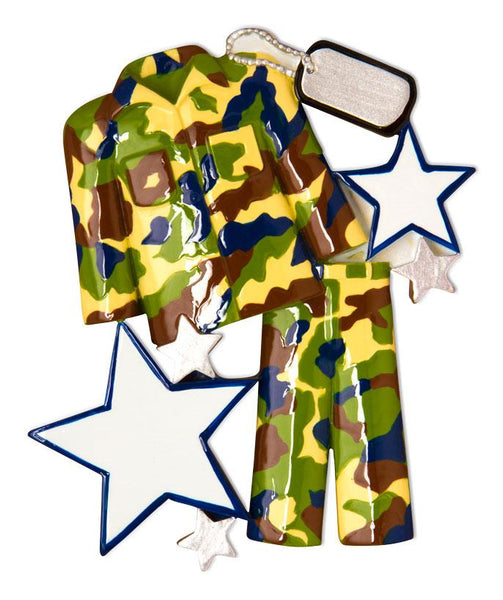 OR1599 - Camo Fatigues Personalised Christmas Decoration
