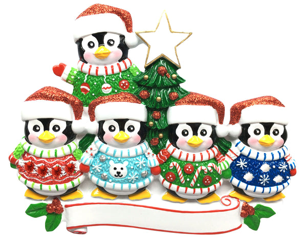 OR1602-5 - Ugly Sweater Family of 5 Personalised Christmas Decoration