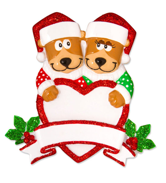 OR1604-2 - Brown Bear Family With Heart Couple Personalised Christmas Decoration