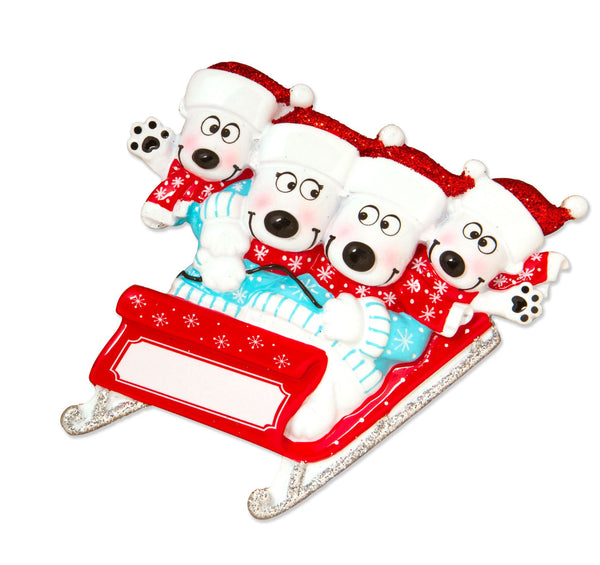 OR1605-4 - Bears on Sled of 4 Personalised Christmas Decoration