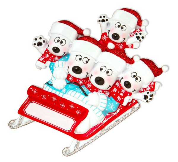 OR1605-5 - Bears on Sled of 5 Personalised Christmas Decoration
