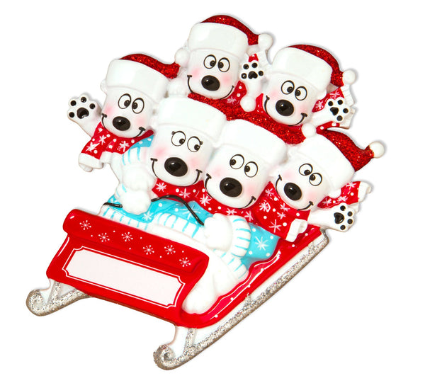 OR1605-6 - Bears on Sled of 6 Personalised Christmas Decoration