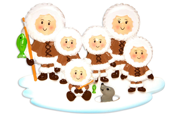 OR1607-6 - Eskimo Family of 6 Personalized Christmas Decoration