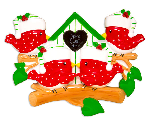 OR1609-4 - Bird Family of 4 Personalized Christmas Decoration