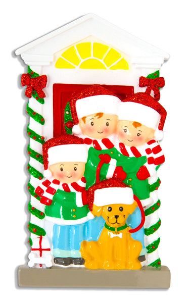 OR1611-3 - Family of 3 with Dog Personalised Christmas Decoration