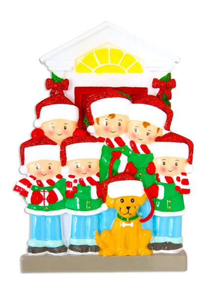 OR1611-6 - Family of 6 with Dog Personalised Christmas Decoration