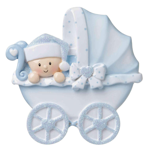 OR1643-B - Baby Carriage (Blue) Personalised Christmas Decoration