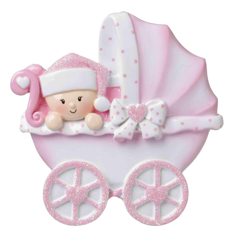 OR1643-P - Baby Carriage (Pink) Personalised Christmas Decoration