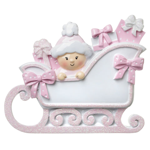 OR1649-P - Baby In A Sleigh (Pink) Personalised Christmas Decoration