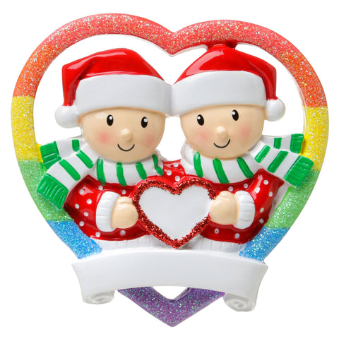 OR1666-M - Rainbow Heart Same Sex Couple (Male) Personalised Christmas Decoration