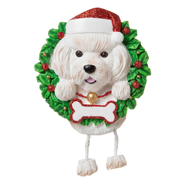 OR1712-BF - Bichon Frise (Pure Breed) Personalised Christmas Decoration