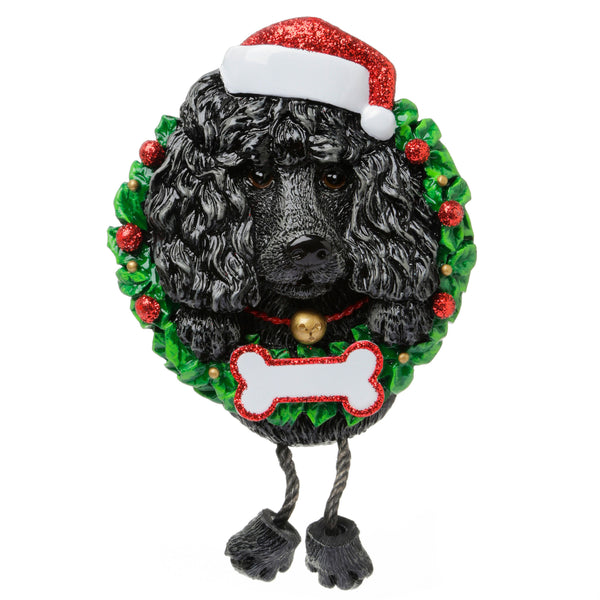 OR1712-BP - Black Poodle (Pure Breed) Personalised Christmas Decoration