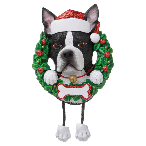 OR1712-BT - Boston Terrier (Pure Breed) Personalised Christmas Decoration