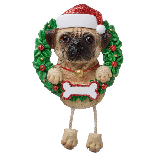 OR1712-PU - Pug (Pure Breed) Personalised Christmas Decoration