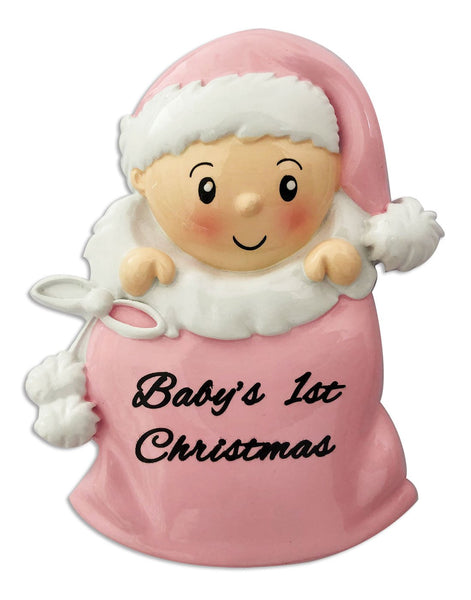 OR1715-P - Baby Girl in Santa Sack (Pink) Personalised Christmas Decoration