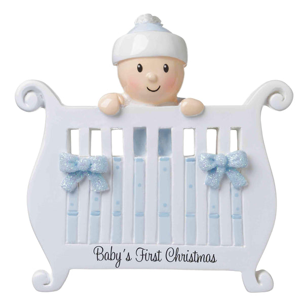 OR1732-B - Baby (Boy) in Crib Personalised Christmas Decoration