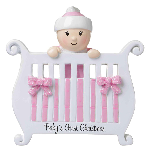 OR1732-P - Baby (Girl) in Crib Personalised Christmas Decoration