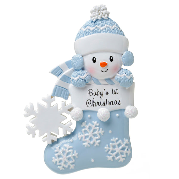 OR1738-B - Baby Snowman in Stocking (Blue) Personalised Christmas Decoration