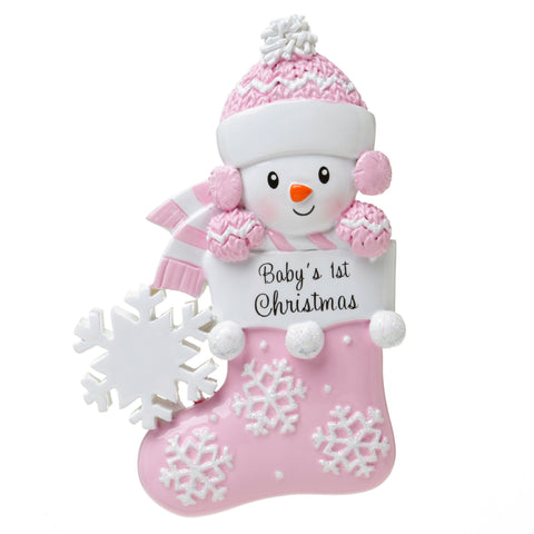 OR1738-P - Snow Baby In Stocking (Pink) Personalised Christmas Decoration