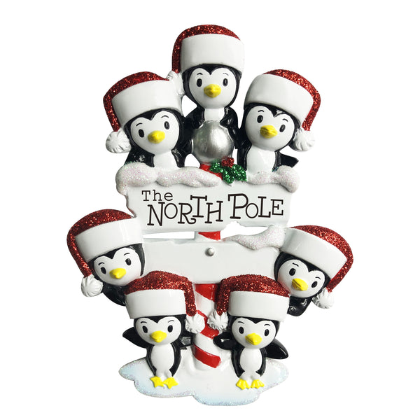 OR1739-7 - North Pole Penguin Family of 7 Personalised Christmas Decoration