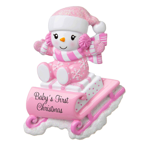 OR1742-P - Snowbaby on Sled (Pink) Personalised Christmas Decoration