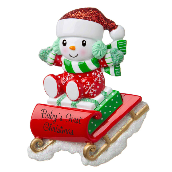 Or1742 Rg Snowbaby On Sled Red Green Personalised Christmas