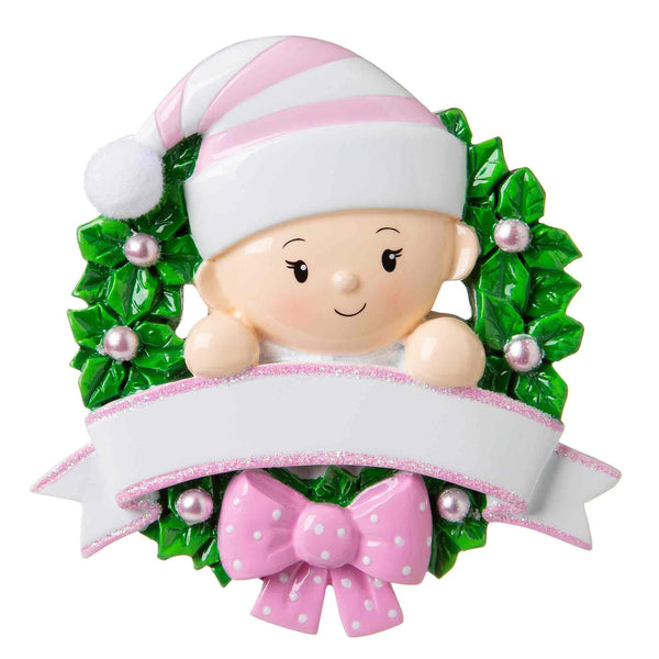 OR1746-P - Baby in a Wreath (Pink) Personalised Christmas Decoration