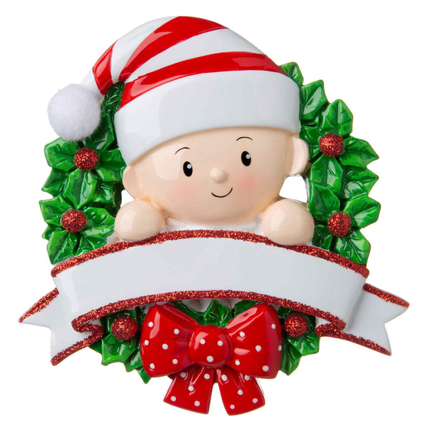 OR1746-RG - Baby in a Wreath (Red & Green) Personalised Christmas Decoration