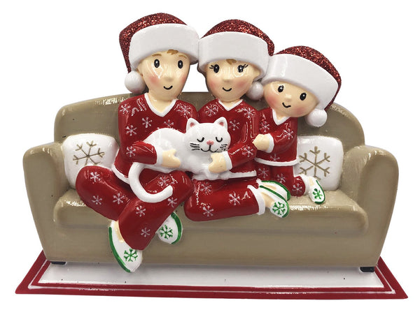 OR1786-3 - Family of 3 w/Cat Personalized Christmas Decoration