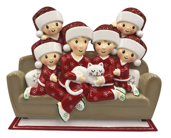 OR1786-6 - Family of 6 w/Cat Personalized Christmas Decoration