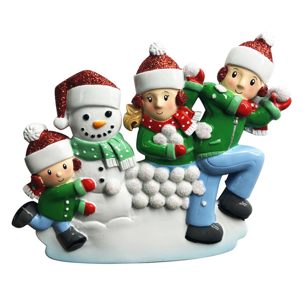 OR1788-3 - Family of 3 in Snowball Fight Personalised Christmas Decoration