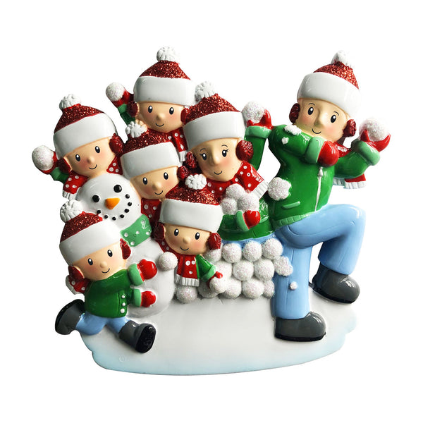 OR1788-7 - Family of 7 in Snowball Fight Personalised Christmas Decoration