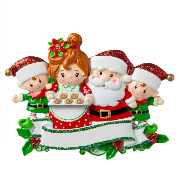 OR1790-4 - Santa & Mrs Claus with 2 Children Personalised Christmas Decoration