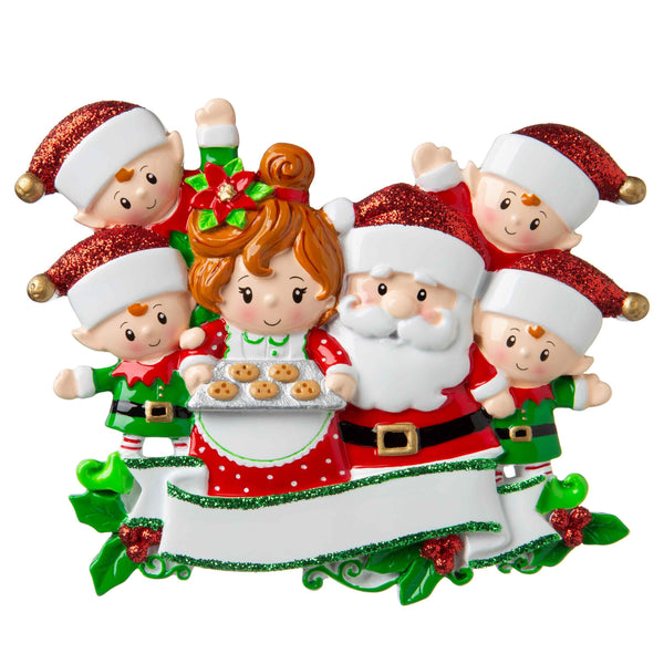 OR1790-6 - Santa & Mrs Claus with 4 Children Personalised Christmas Decoration