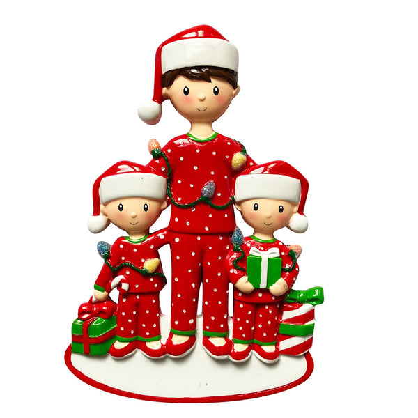 OR1791-2 - Single Dad with 2 Children Personalised Christmas Decoration