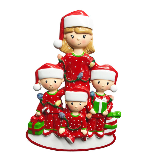 OR1792-3 - Single Mom with 3 Children Personalised Christmas Decoration