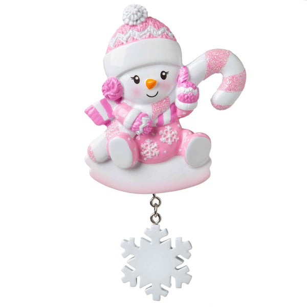OR1846-P - Snowbaby with Candy Cane (Pink) Personalised Christmas Decoration