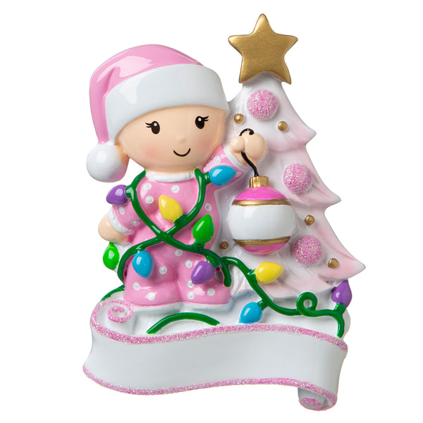 OR1847-P - Baby Decorating A Tree (Pink) Personalised Christmas Decoration