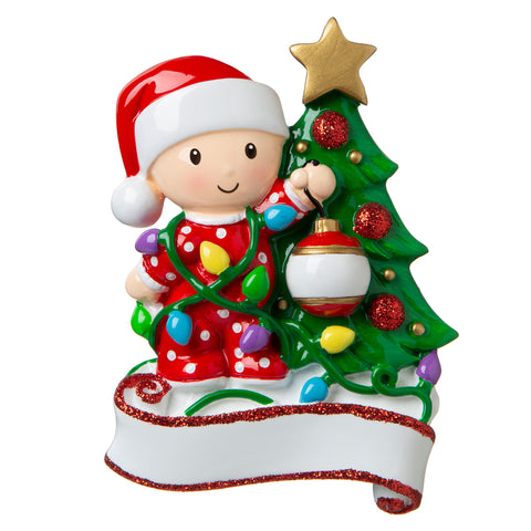 OR1847-RG - Baby Decorating A Tree (Red & Green) Personalised Christmas Decoration