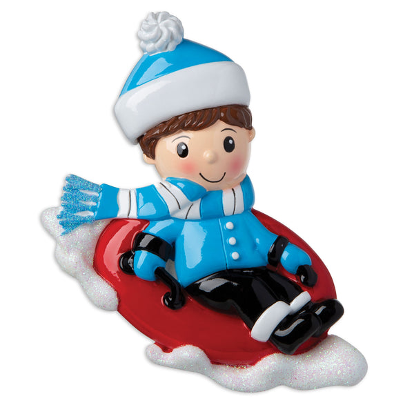 OR1871-B - Boy on Sled Personalised Christmas Decoration