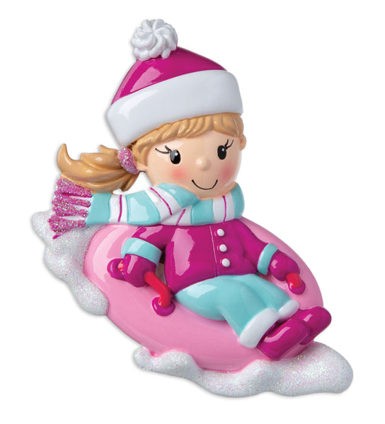 OR1871-G - Girl on Sled Personalised Christmas Decoration
