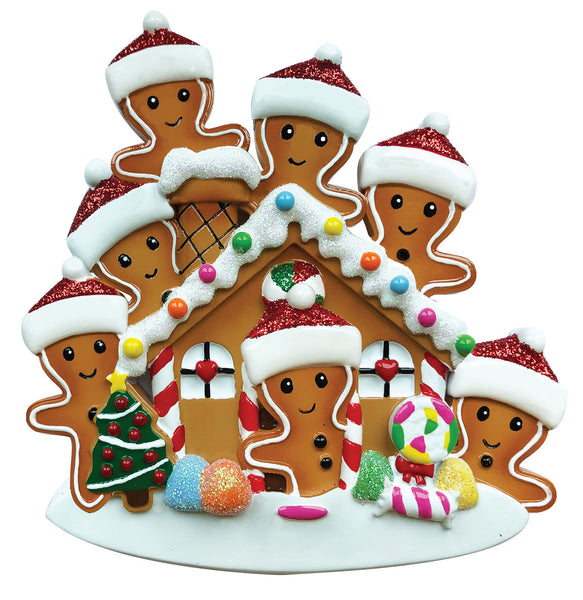 OR1872-7 - Gingerbread House Family of 7 Personalised Christmas Decoration