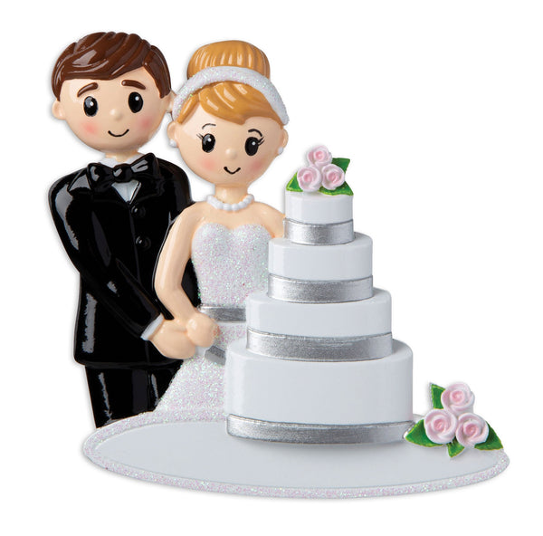 OR1880 - Wedding Couple with Cake Personalised Christmas Decoration