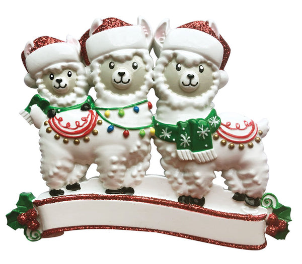 OR1910-3 - Llama Family of 3 Personalized Christmas Ornament